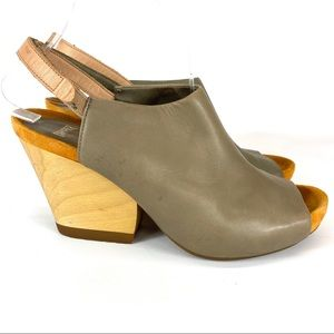 "Camper taupe leather ""Allegra"" w wood heels -9"